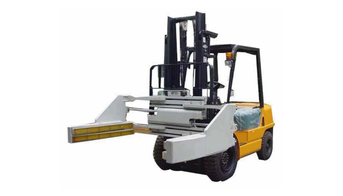 Rotating slide hydraulic concrete brick clamp for forklift